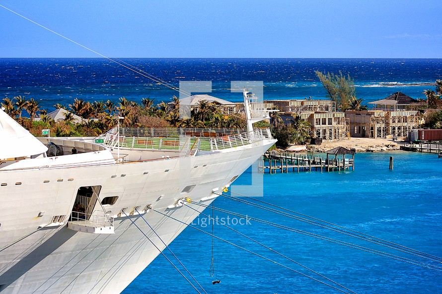 cruise ship bow and island