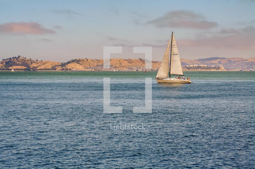 Sailboat on a lake.