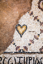 tile mosaic in ancient ruins in the holy land
