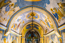 biblical paintings on the ceilings of an ancient church