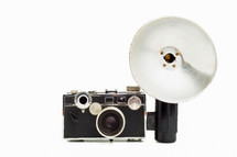vintage camera with a flash