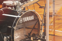 drum set drum cage and mic for worship drummer