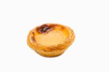Egg Tart or pasteis de nata isolated on white background. Typical portuguese sweet
