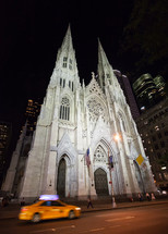 St. Patrick's Cathedral at night, in Manhattan, New York