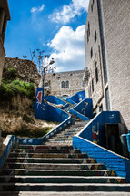 painted blue steps in the holy land
