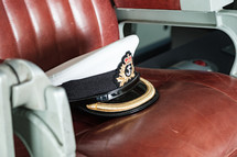 captains hat on a navy ship