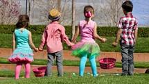 Children on an Easter egg hunt.