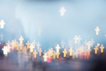 Blurred cross shaped lights.