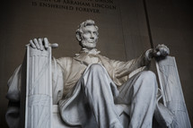 Statue of Abraham Lincoln in the Lincoln Memorial.