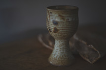 clay chalice and unleavened bread