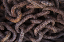 pile of old rusty chains.