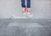 boy child jumping, sneakers