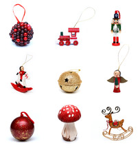 Christmas ornaments, Christmas, pattern, background, red, mushroom, rocking horse, reindeer, bell, angel, train, nutcracker, ball