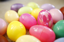 A bunch of colored Easter eggs