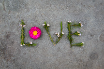 word love in flowers and leaves
