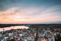 coastal town at sunset