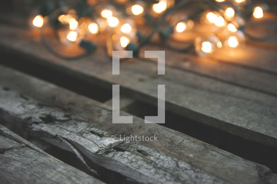 string of lights on wood