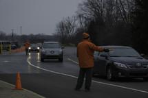 event staff directing traffic