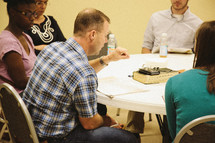 a discussion at a Bible study