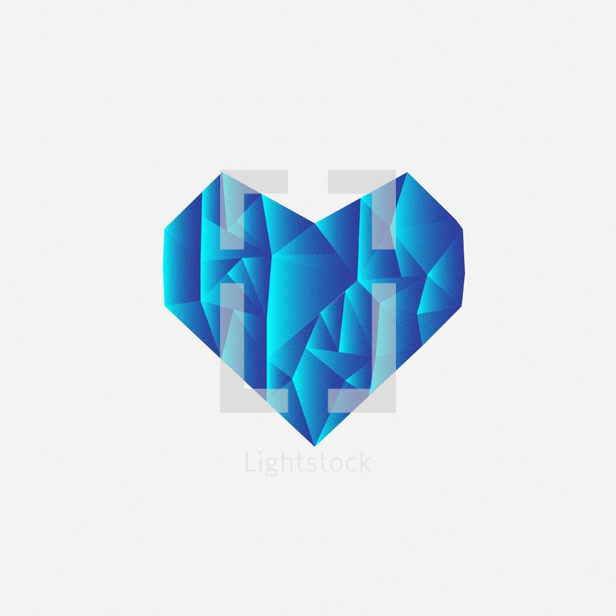 textured blue heart