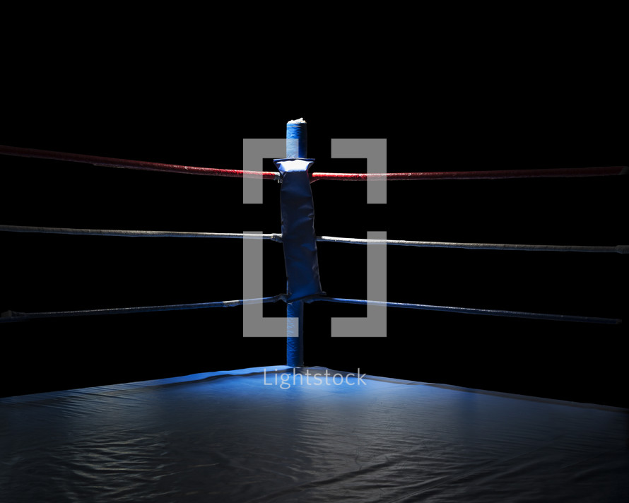 corner of a boxing ring with spotlight.