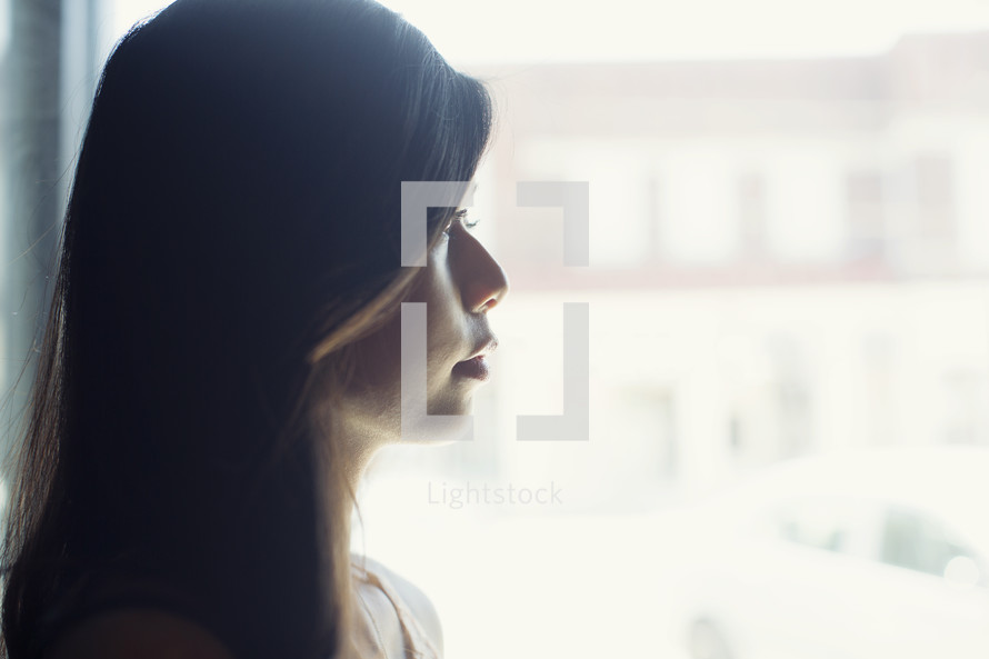 A young woman's profile.