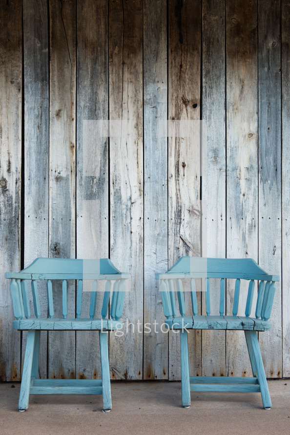 blue chairs and wood boards