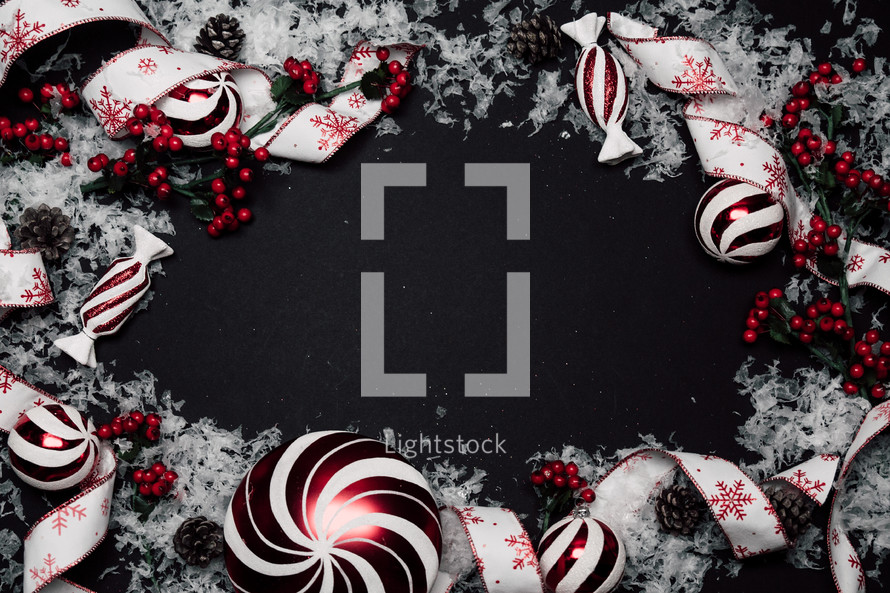 Christmas frame on black background