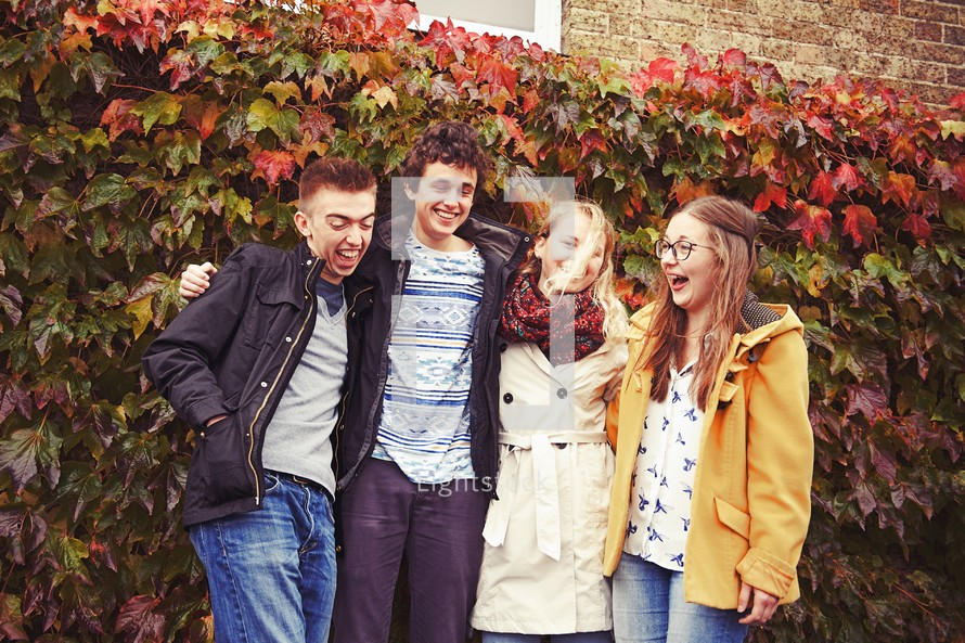 fall, ivy, youth, teens, wall, standing, friends, youth group