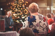 congregation at a worship service at Christmas