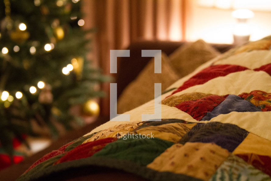 Christmas quilt and Christmas tree