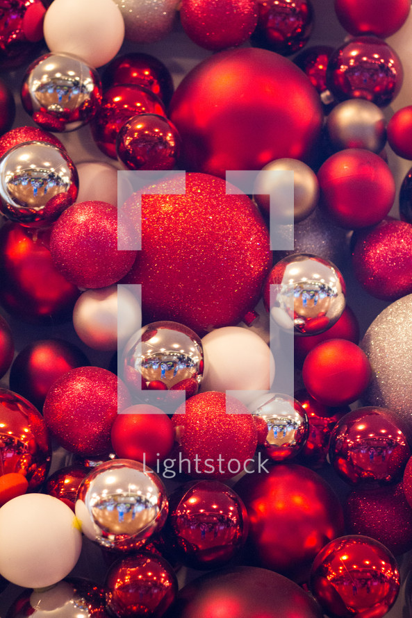 red, white, and silver Christmas ornaments