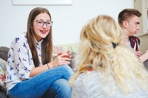 teens in conversation at a Bible study