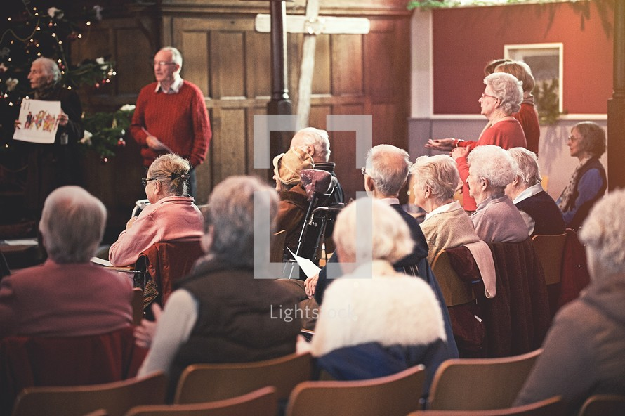 elderly Congregation at a Christmas worship Service