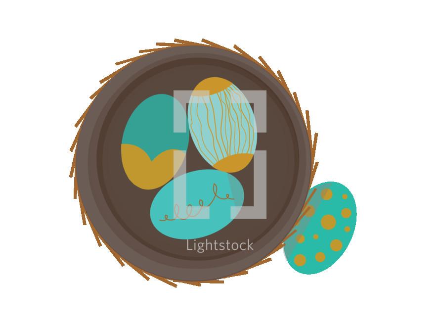 eggs in a bird nest