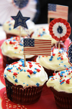 Red, white and blue decorated cupcakes. USA Flag, stars, stripes
