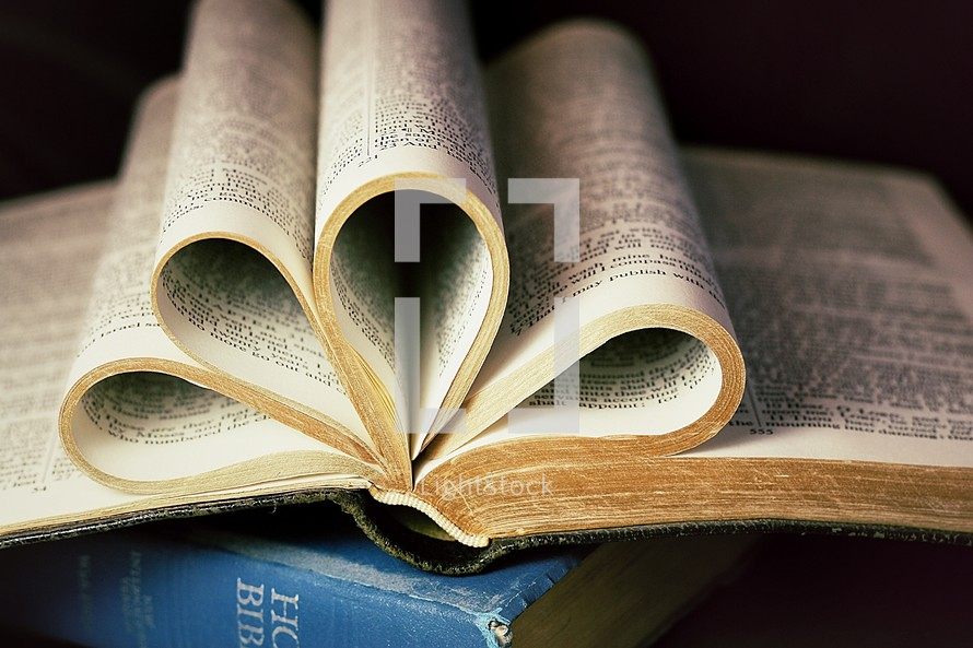 heart shaped pages of a Bible