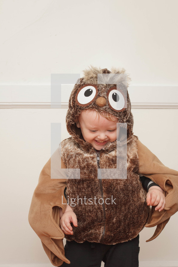 toddler boy in an owl Halloween costume