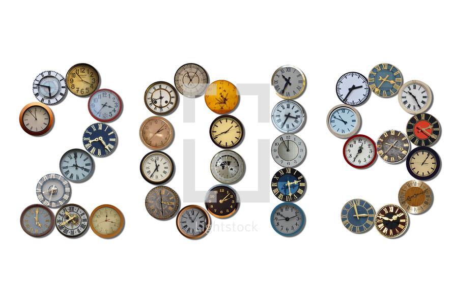2019 written with different clocks.