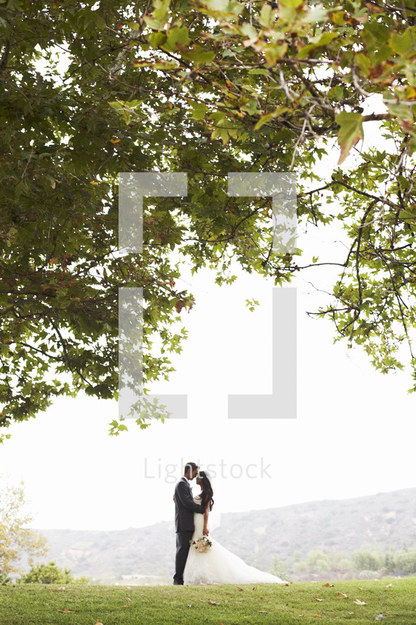 bride and groom standing together under a tree