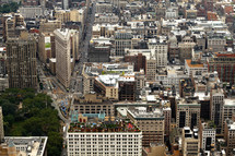 looking down at the rooftops of NYC buildings