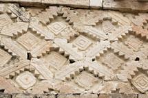detail of Uxmal Mayan Ruins at Yucatan Mexico