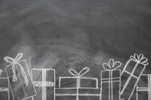 border of Christmas gifts on a chalkboard
