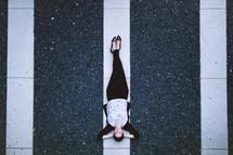 model, woman, lying down, pavement, lines, redhead, outdoors, posing, short hair