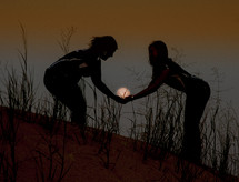 girls holding the sun