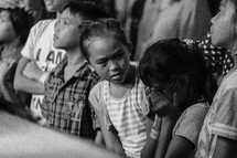 crying child at a worship service