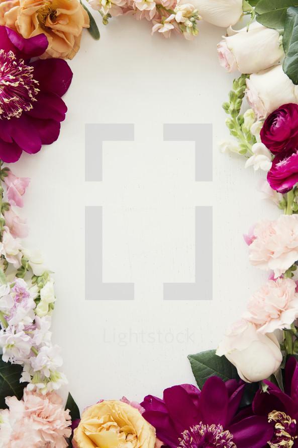 border of fresh flowers.