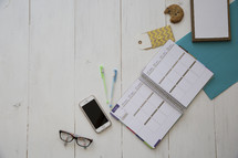 a planner on a desk