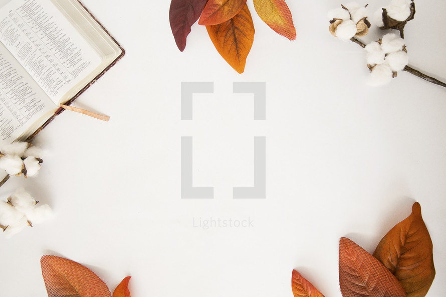 fall scene border with open Bible.