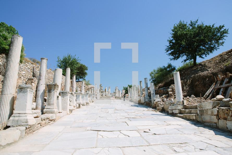 sidewalks through ruins at an historic site